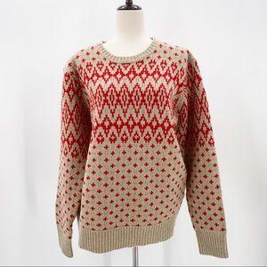 J. Crew Red Diamond Crew Neck 100% Lambs-wool Knit Sweater, Size Large
